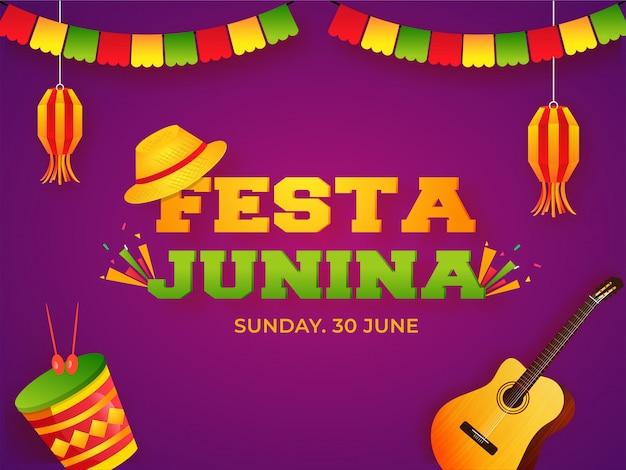 Banner festa junina Vetor Premium