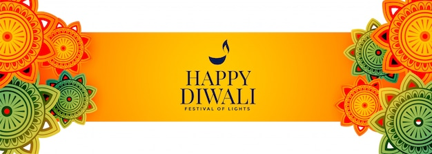 Banner festival atraente feliz diwali com decoração Vetor grátis