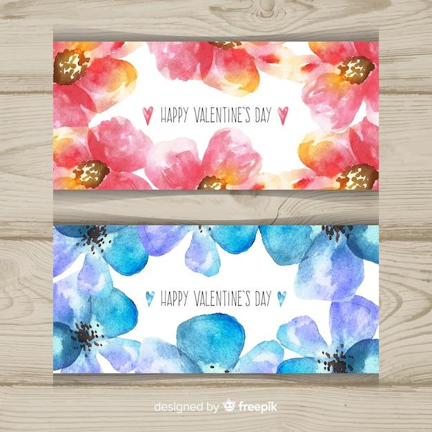 Banner floral dos namorados em aquarela Vetor grátis