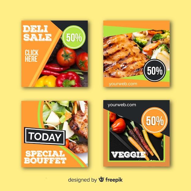 Banner fotográfico de comida plana quadrada Vetor grátis