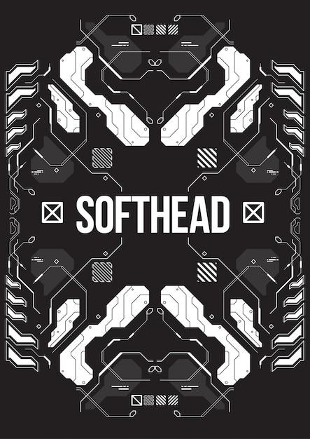 Banner futurista de cyberpunk com elementos de estilo decorativo. Vetor Premium