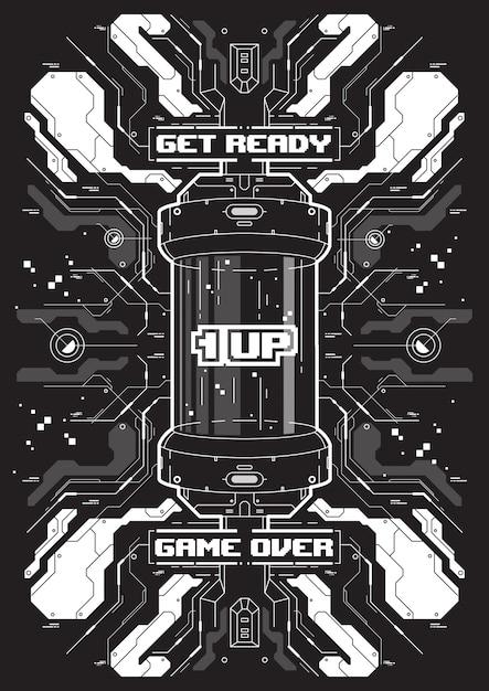 Banner futurista de cyberpunk com elementos de jogos retro. Vetor Premium