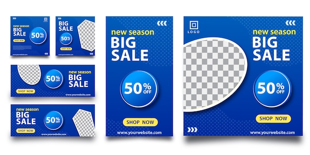 Banner grande mídia social venda Vetor Premium
