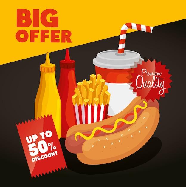 Banner grande oferta de fast food com 50% de desconto Vetor grátis