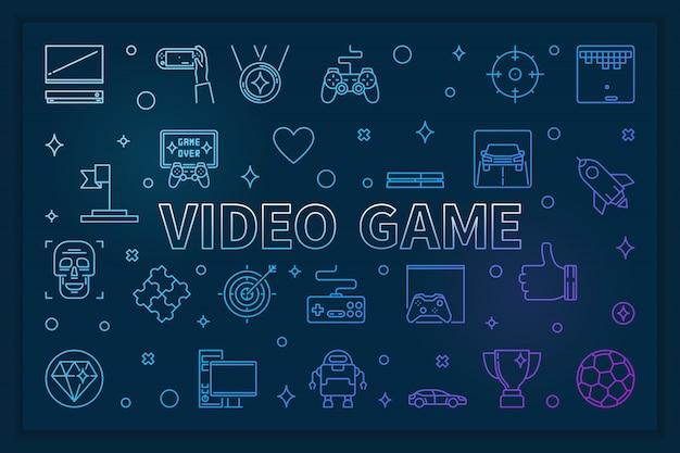 Banner horizontal azul de videogame - ilustração linear Vetor Premium