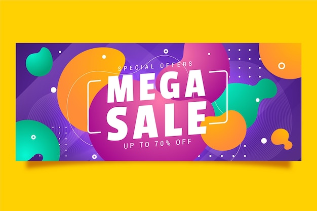 Banner horizontal colorido para venda Vetor grátis