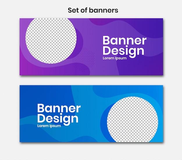 Banner horizontal com desenho de círculo na cor azul e roxa Vetor Premium