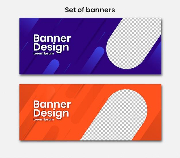 Banner horizontal com design 3d azul e laranja Vetor Premium