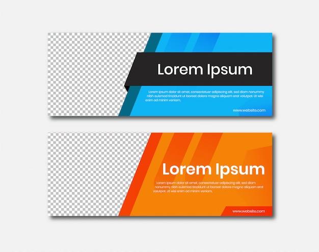 Banner horizontal com design de rótulo Vetor Premium