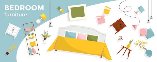 Banner horizontal com muita mobília do quarto e texto a voar. itens de interior - cama, mesinhas de cabeceira, plantas, fotos, travesseiros. conjunto acolhedor de móveis flutuantes. Vetor Premium