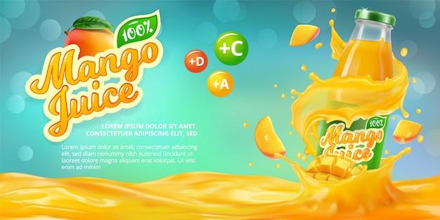 Banner horizontal com publicidade realista em 3d de suco de manga, uma garrafa com suco de manga entre os salpicos e um logotipo Vetor Premium