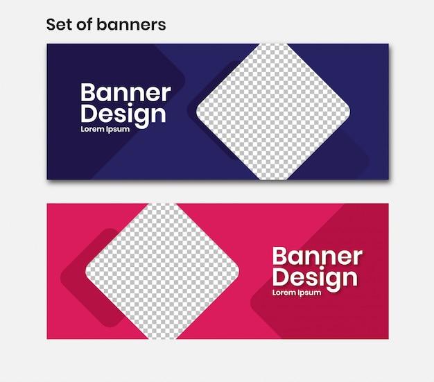 Banner horizontal com quadrado em azul e rosa Vetor Premium