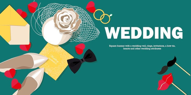 Banner horizontal com véu de noiva, sapatos da noiva, anéis de casamento Vetor Premium