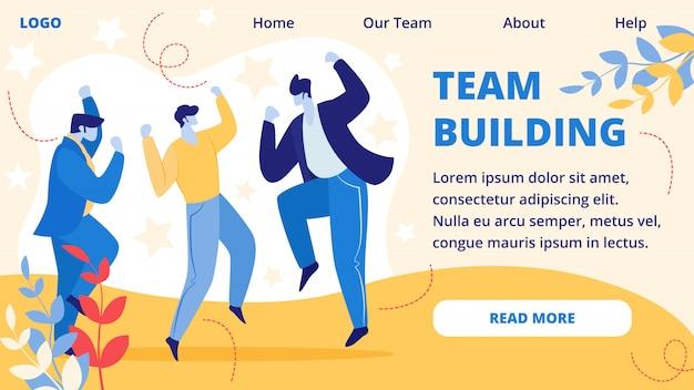 Banner horizontal de construção de equipe. evento de escritório. Vetor Premium