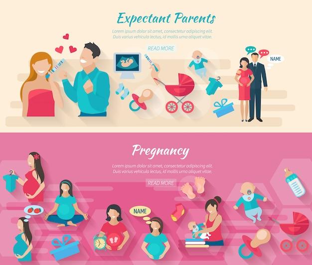 Banner horizontal de gravidez conjunto com pais e elementos planos de parto isolados Vetor grátis