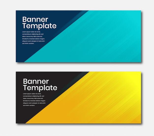 Banner horizontal de negócios na cor azul e amarela Vetor Premium