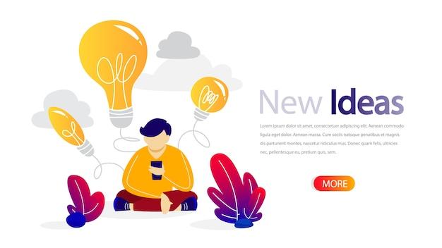 Banner horizontal de nova ideia para seu site. treinamento online para melhoria do negócio. educação e crescimento da qualidade, planejamento de projetos e formação de equipes. apartamento isolado Vetor Premium