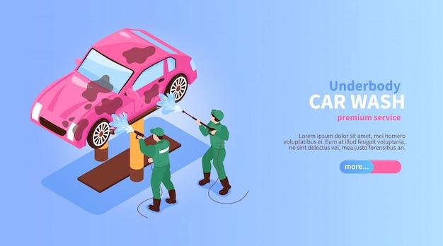 Banner horizontal de serviços de lavagem de carro isométrico com caracteres de trabalhadores pulverizando o botão deslizante do carro e ilustração vetorial de texto Vetor grátis