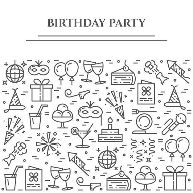 Banner horizontal de tema de festa de aniversário. Vetor Premium