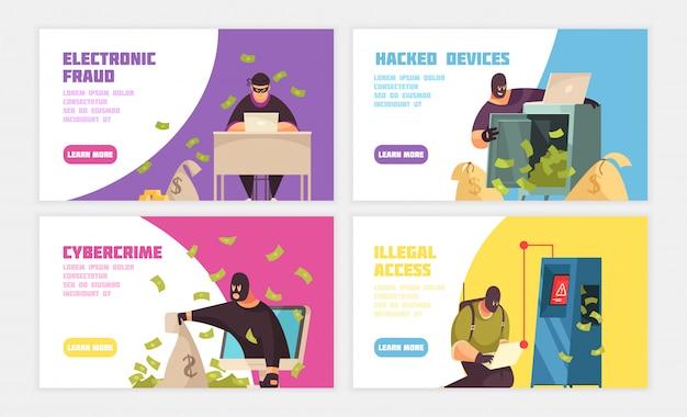 Banner horizontal de três hackers conjunto com cibercrime de dispositivo hackeado por fraude eletrônica e ilustração em vetor manchetes de acesso ilegal Vetor grátis