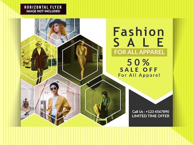 Banner horizontal de venda de moda Vetor Premium