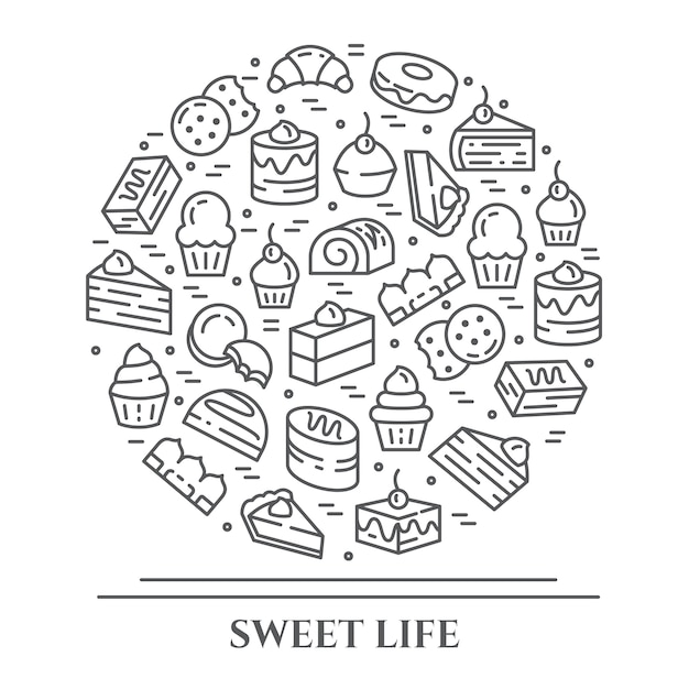 Banner horizontal do tema de bolos e biscoitos. Vetor Premium