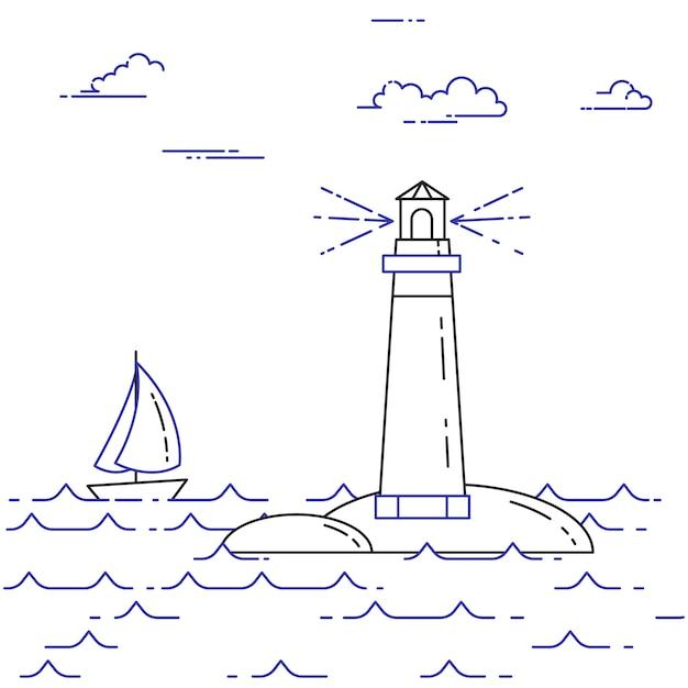 Banner horizontal itinerante com veleiro em ondas, farol e nuvens. elementos de arte de linha plana. ilustração vetorial. conceito de viagem, turismo, agência de viagens, hotéis, iates, cartão de recreação. Vetor Premium