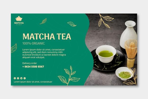 Banner horizontal para chá matcha Vetor Premium