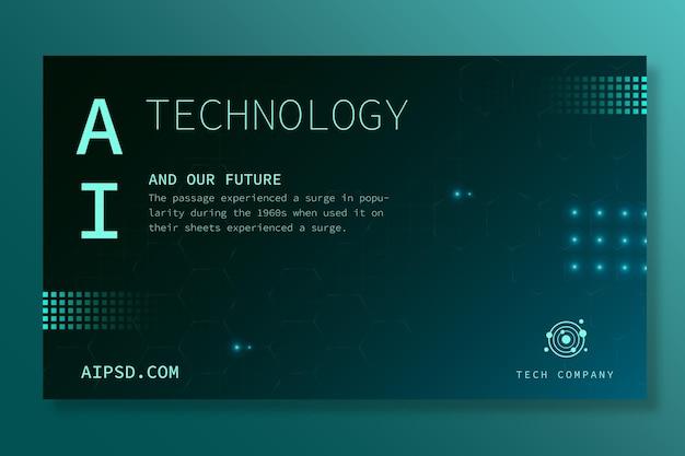 Banner horizontal para inteligência artificial Vetor grátis