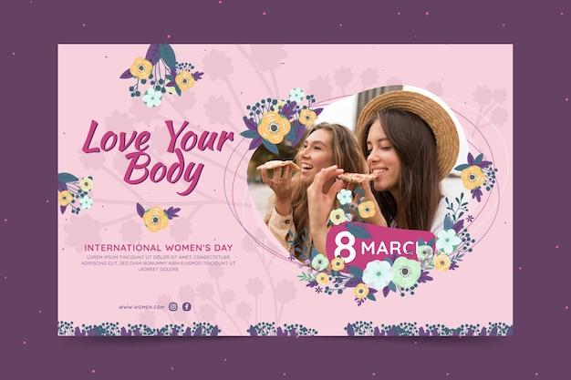 Banner horizontal para o dia internacional da mulher com mulheres e flores Vetor grátis