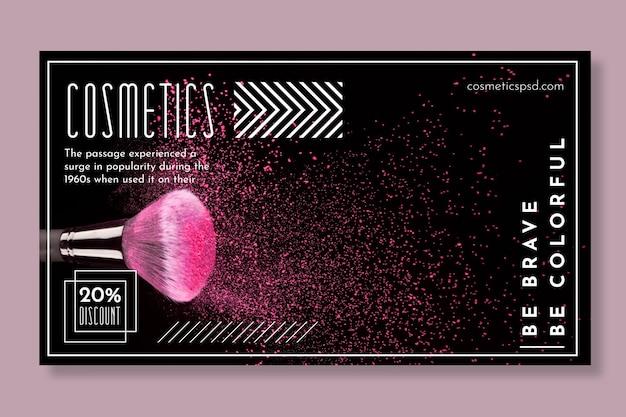 Banner horizontal para produtos cosméticos com pincel de maquiagem Vetor grátis