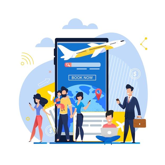 Banner ilustração mobile app livro agora no avião Vetor Premium