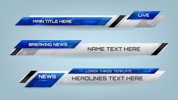Banner inferior de terços para televisão Vetor Premium