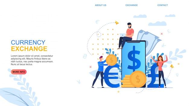 Banner inscription currency exchange desenhos animados Vetor Premium