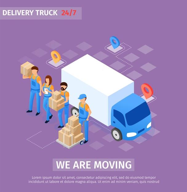 Banner inscription estamos nos movendo, caminhão de entrega Vetor Premium