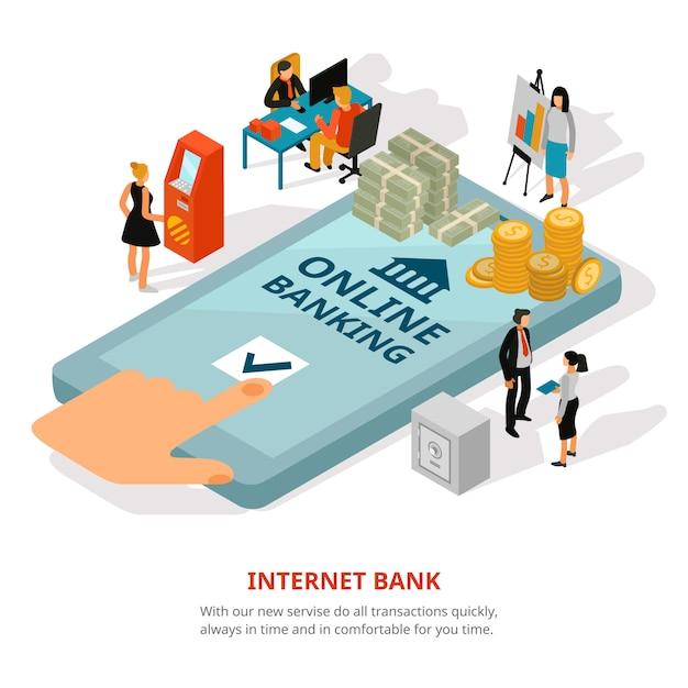 Banner isométrica de banco on-line Vetor grátis