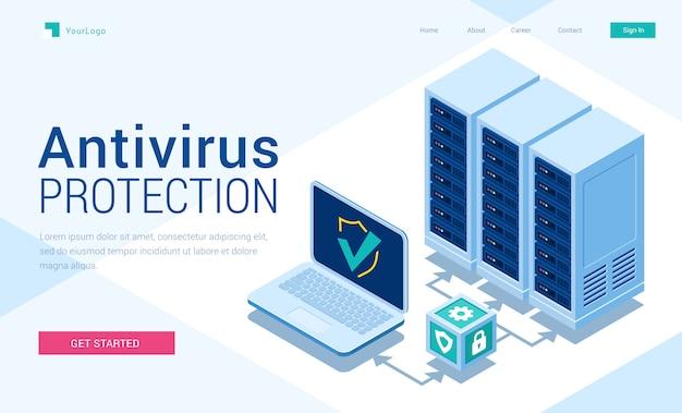 Banner isométrico da página de destino com proteção antivírus Vetor grátis