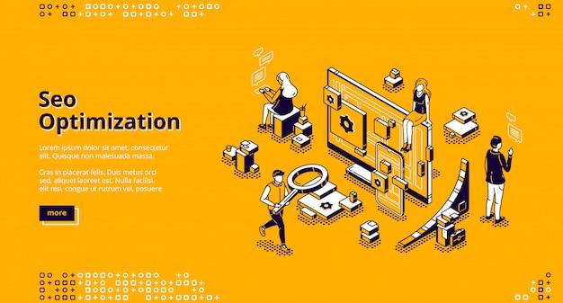 Banner isométrico da página de destino da otimização de seo Vetor grátis
