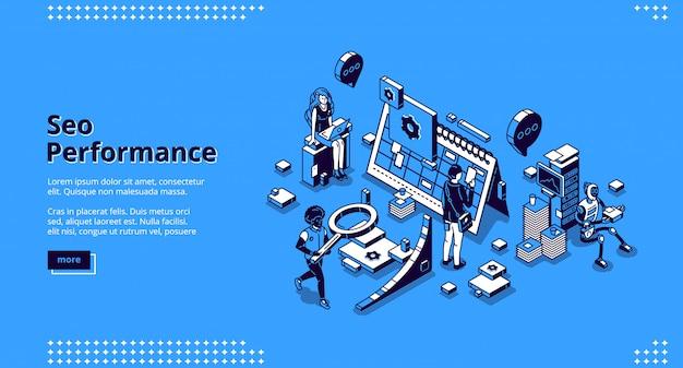 Banner isométrico da página de destino do desempenho de seo Vetor grátis