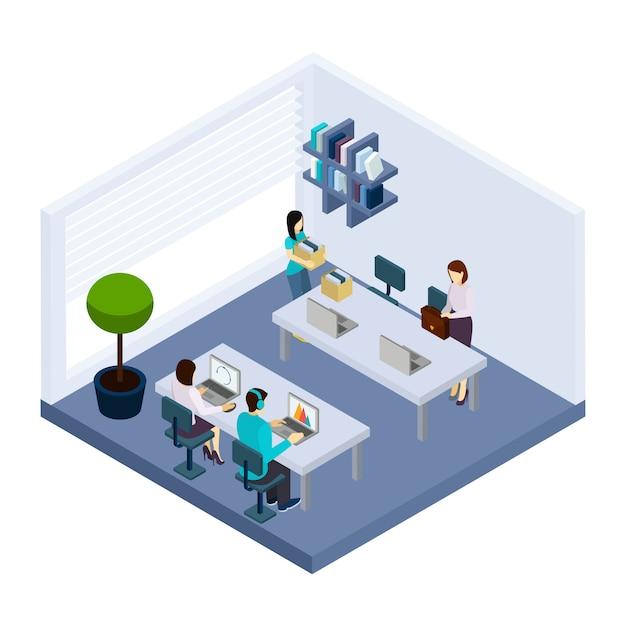 Banner isométrico de escritório de pessoas de coworking ambiente Vetor grátis