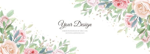Banner lindo floral e modelo de folhas Vetor grátis