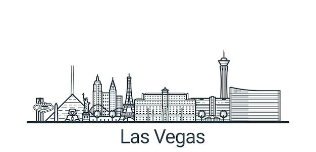 Banner linear da cidade de las vegas. todos os edifícios Vetor Premium