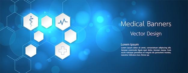 Banner medical dna e tecnologia de fundo Vetor Premium