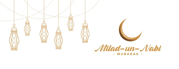Banner milad un nabi com lâmpadas decorativas Vetor grátis