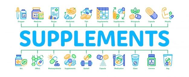 Banner mínimo de infográfico de suplementos Vetor Premium