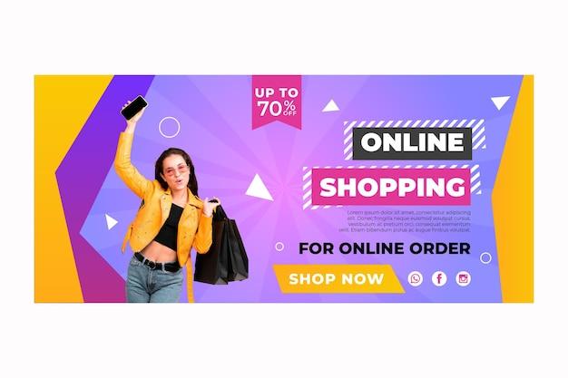 Banner modelo de compras online Vetor grátis