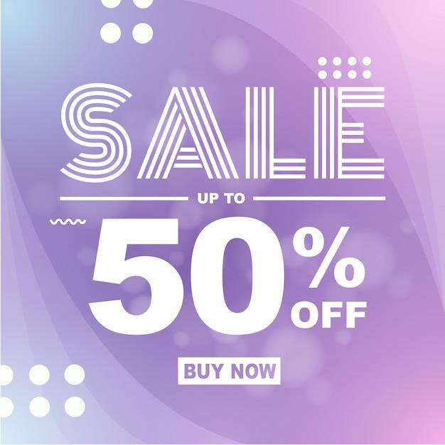 Banner moderno background flash venda 50% de desconto Vetor Premium