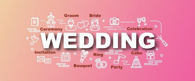 Banner na moda de vetor de casamento Vetor Premium