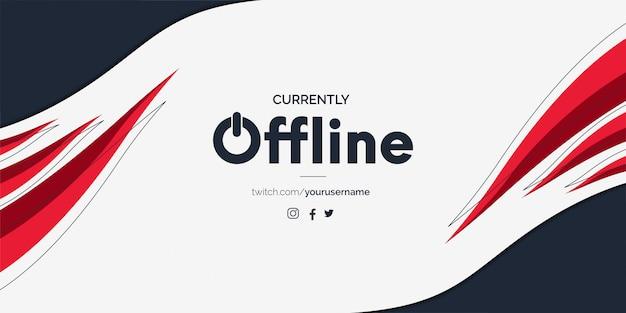 Banner offline twitch moderno com formas vermelhas abstratas Vetor grátis
