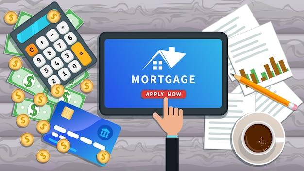 Banner on-line de empréstimo hipotecário Vetor Premium